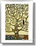 グスタフ クリムト 生命の樹 【ポスター+フレーム】61 x 81cm シルバー(ヘアライン) / クリムト