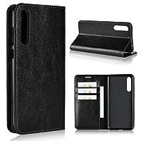 FJUSMJ- 電話ケース Huawei P20 Pro用革ケース、高級クレイジーホース本革製財布ケース、観賞用スタンド&カードスロット付、Huawei P20 Pro用フリップケースカバー (Color : Black)