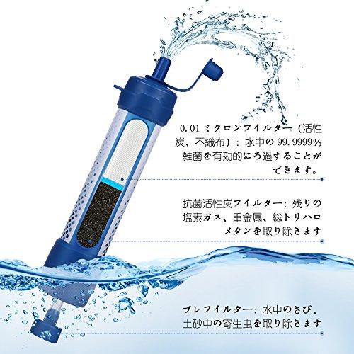 携帯用アウトドア浄水器,JETERYポータブル浄水器,濾過1500リットルに,0.01ミクロンフィルターシステムで旅行、災害及び緊急時に安全な水を提供