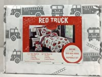 "(Full) - Red Truck Easy Care Soft Polyester""Fireman"" Sheet Set Grey Firetrucks on White (FULL)"