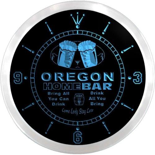 LEDネオンクロック 壁掛け時計 ncp2037-b OREGON Home Bar Beer Pub LED Neon Sign Wall Clock