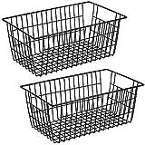 SANNO ワイヤーバスケット スチールボックス かご 収納ケース キッチン収納ボックス 小物入れ 取っ手付き 冷蔵庫適用 黒色 2個入り