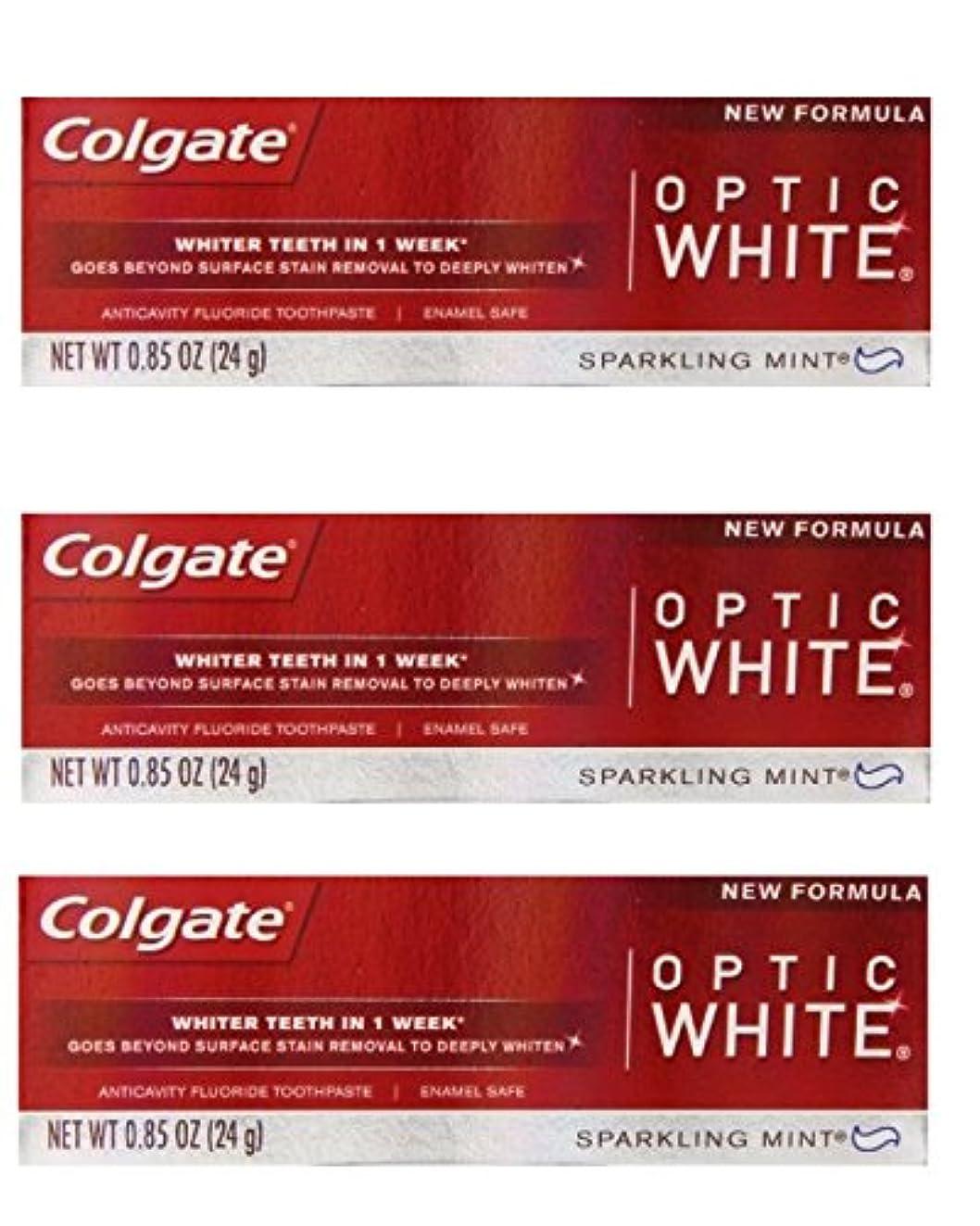 ママ武器キャロラインColgate Optic White Toothpaste Sparkling Mint 0.85 Oz Travel Size (Pack of 3) by Optic