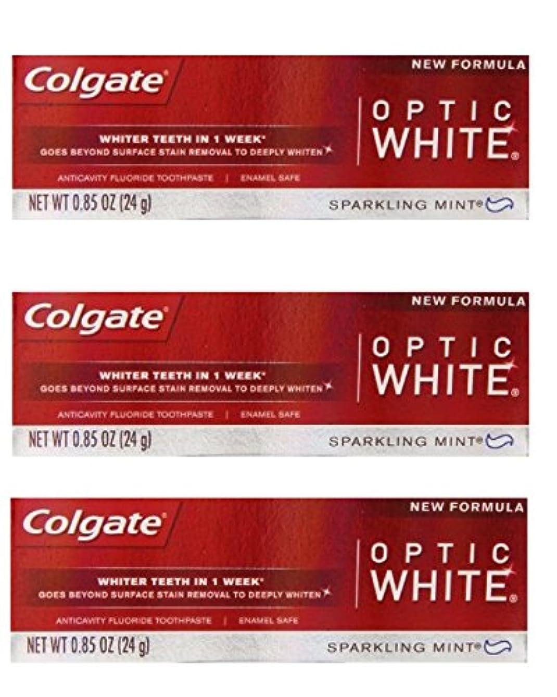 弾性クモ融合Colgate Optic White Toothpaste Sparkling Mint 0.85 Oz Travel Size (Pack of 3) by Optic