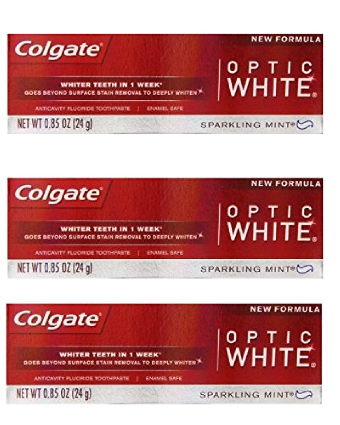 誘導公平教科書Colgate Optic White Toothpaste Sparkling Mint 0.85 Oz Travel Size (Pack of 3) by Optic