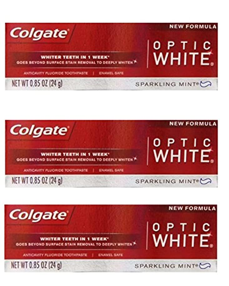 閉塞乳剤リズミカルなColgate Optic White Toothpaste Sparkling Mint 0.85 Oz Travel Size (Pack of 3) by Optic