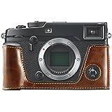 FIRST2SAVVV XJPT-XPRO2-D10 ダークブラウン Fujifilm X-Pro2 . XPro2 専用 PU 半分レザー レフ カメラバッグ カメラケース