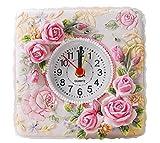 JEANNE ANTIQUE 置くだけで気分はプリンセス ヨーロピアン スタイル ロココ調 バラ 置時計 (ローズピンクホワイト)