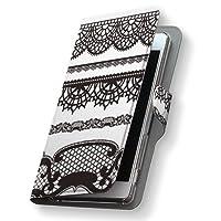 AQUOS PHONE Xx mini 303SH ケース カバー 手帳型 スマコレ 全機種対応 有り レザー 革 303sh スマホケース スマホカバー アクオスフォン チェック・ボーダー 005652 Sharp シャープ softbank ソフトバンク 黒 レース 模様 s-303sh-005652-nb