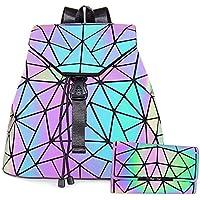 HotOne Geometric Purse Holographic Purse and Handbag Color Changes Luminous Purse for Women, M Lminous Backpack+Flapped Wallet (Multicoloured) - MSLRWT
