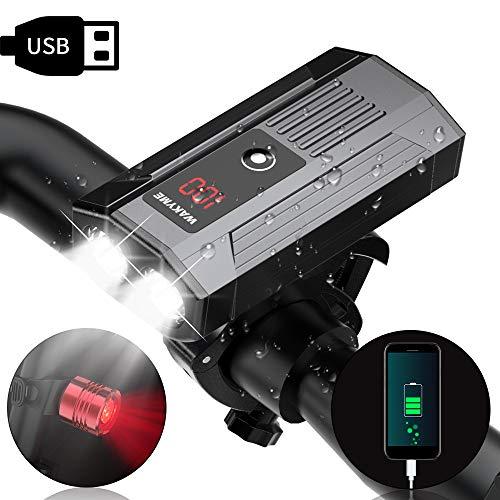 自転車ライト 5200mAh WAKYME スマホ充電でき USB充電式 バッテリー表示ディスプレイ 1200ルーメンT6高輝度 自転車ヘッドライト 5段階調光 IP65防水 懐中電灯 テールライト付き スポーツ・アウトドア 自転車・サイクリング 防災フロント用 (5200mAh)