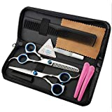 JOYFUN 8pcs Set 6inch Hair Cutting Scissors Set Professional Home Hair cutting Shear with Comb and Case For Men Women kids Pet