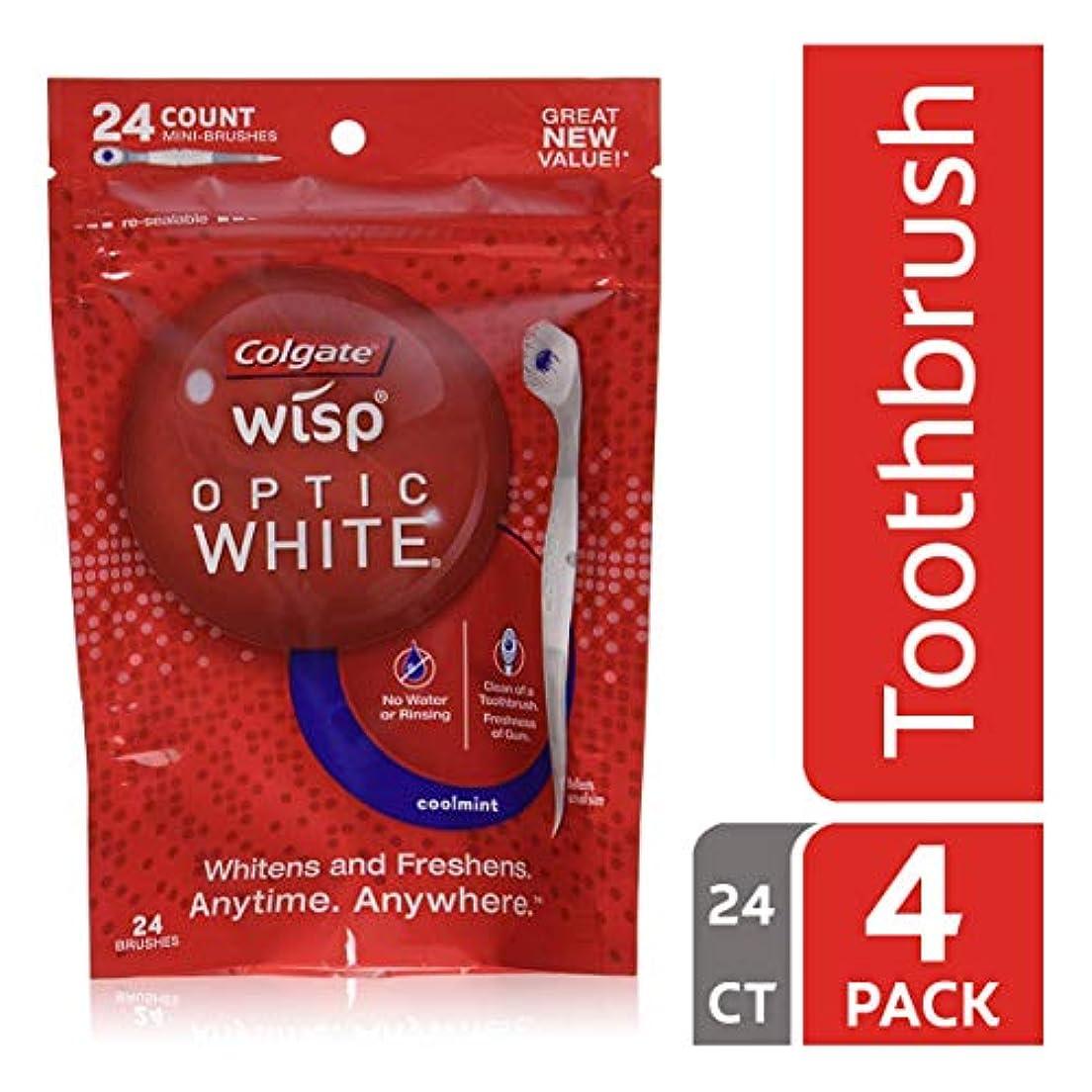 階段歴史的散文コルゲート ポータブルミニ歯ブラシ オプティックホワイト、クールミント 24カウント (4袋 (24x4 ミニブラシ))