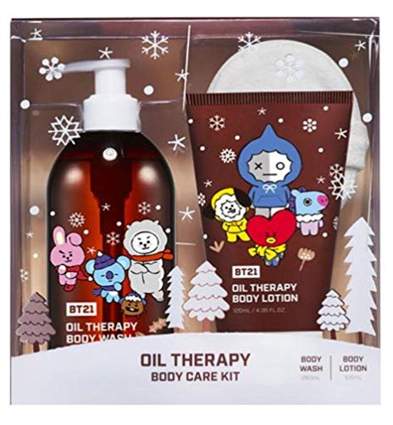 多くの危険がある状況ワイプ覚醒[BT21]防弾少年団BT21 Oil Therapy Body Care Kit(body wash+body lotion+body Sponge) ボディケアキット(海外直送品)