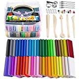 Polymer Clay, 46 Blocks Colored Modeling Clay DIY Soft Craft Clay Set with Sculpting Tools and Accessories in Storage Box, Best Kids (46 Blocks, Weight 3lb) …