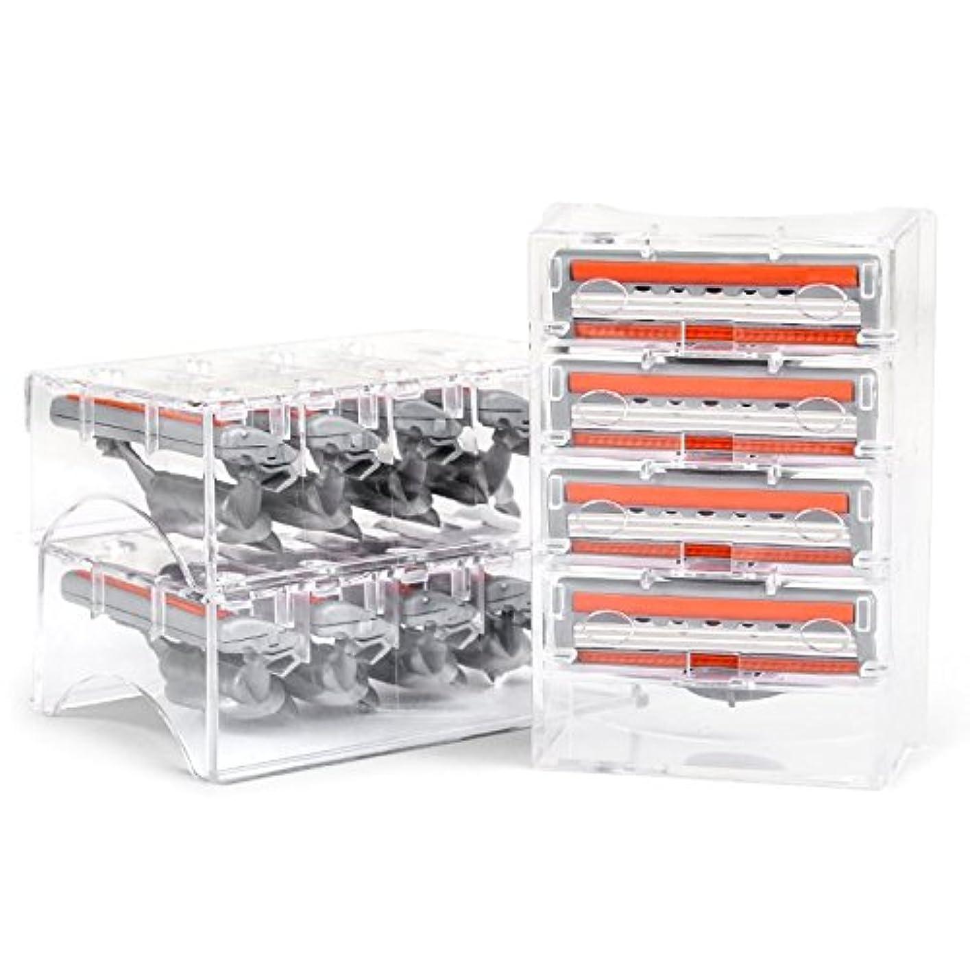 QSHAVEのX3 (3枚刃) カミソリ替刃カートリッジは米国製で、QSHAVEブルーシリーズのカミソリにお使いいただけます (16つ入り)
