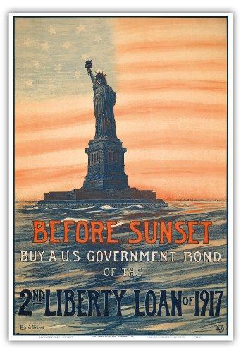 日没前に - 日没前1917年の第二リバティローンの米国国債を購入します - ビンテージな政治的なポスター によって作成された ウジェニー・ド・ランド c.1917 - アートポスター - 33cm x 48cm