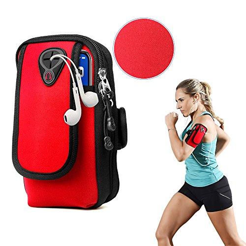 スポーツアームバンド ランニングアームバンド 薄型 軽量 調節可能 イヤホン穴付き 6.0インチスマホ対応 汗を防ぐ 防水 (レッド)