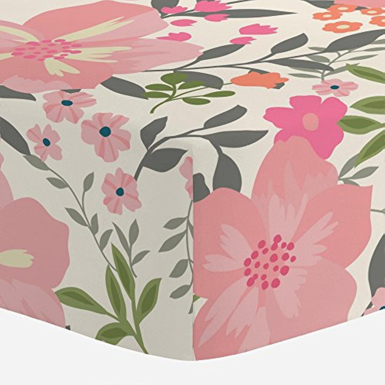 Carousel Designs Pink and Orange Floral Tropic Crib Sheet by Carousel Designs