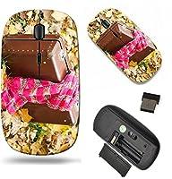 MSDワイヤレスマウス旅行2.4GワイヤレスマウスUSBレシーバー付き、Noiseless andサイレントクリックwith 1000dpi for PCノートブック、PC、ラップトップ、コンピュータ、Mac Bookデザイン24108425ヴィンテージスーツケースwithピンクスカーフI