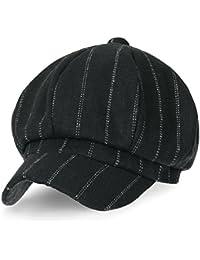 (イリリリー) ililily 8-Pannel ウールブレンド ニュースボーイ キャビー キャップ ストライプ あひる ビル フラット ハンチング / キャスケット 帽子