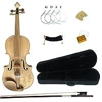 Kinglos4/4フルサイズ ソリッドウッド カラード カービング バイオリン キット (MS007)