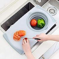 折りたたみバケッツ 洗い桶・水切りかご・まな板の多機能キッチンバスケット 2in1 滑り止め設計 サイズ:約50cm28.5cm