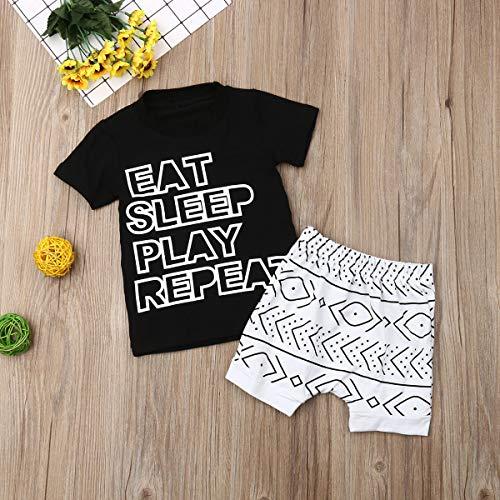 Nokpsedcb Newborn Kids Clothing Baby Boys Cute Letter Printing T-Shirt Top+Short Pants Trousers 2Pcs Outfits Clothes Set - Multi - 0-6 Months Black White