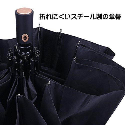 SZRSTH 折り畳み傘 自動開閉 ワンタッチ 耐久性 Teflon加工10本骨 116cm 撥水加工 防雨防風 晴雨兼用 高密度NC布製 収納ケース付き (ブラック)