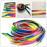 AuCatStore(TM) 5Pairs Sports Shoe Laces Strings 110cm Flat Sports Shoe Laces Rainbow Shoelace