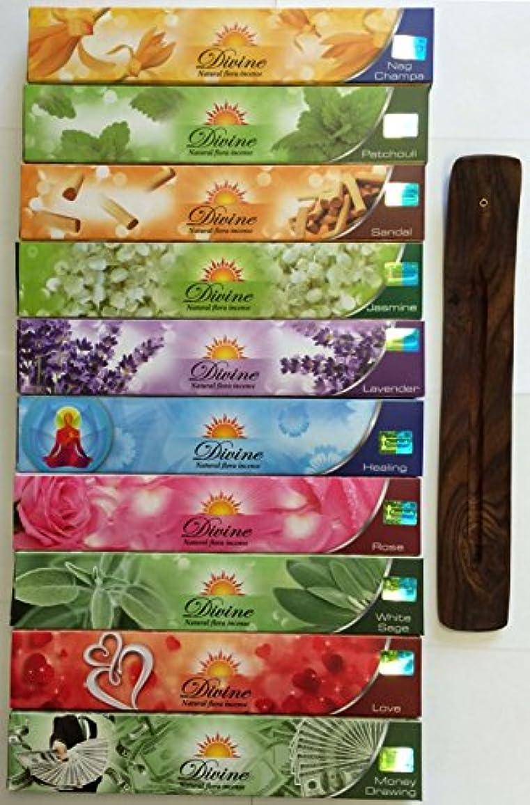 参照精算グローブGift Set of 10 Nag Champa Sandalwood Patchouli Rose Lavender Jasmine Healing Love White Sage Money Drawing Incense Kit(incense Holder Included)