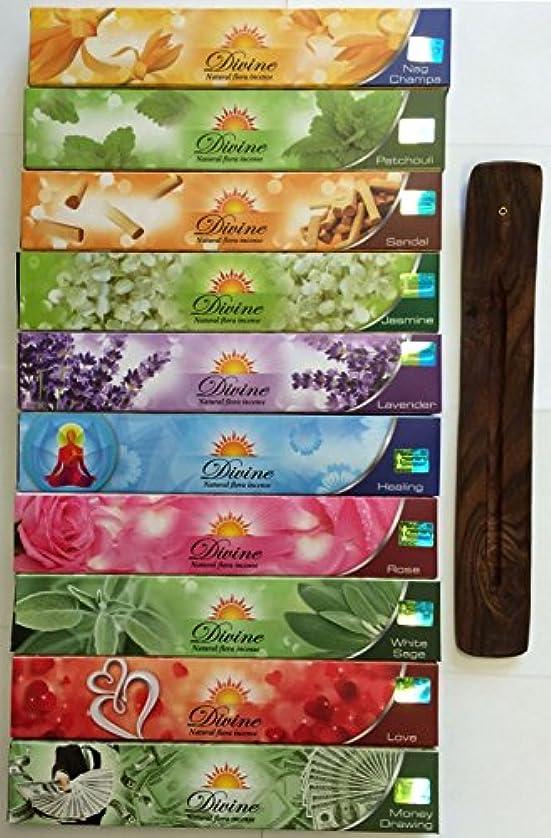 に話すウォルターカニンガム国勢調査Gift Set of 10 Nag Champa Sandalwood Patchouli Rose Lavender Jasmine Healing Love White Sage Money Drawing Incense Kit(incense Holder Included)