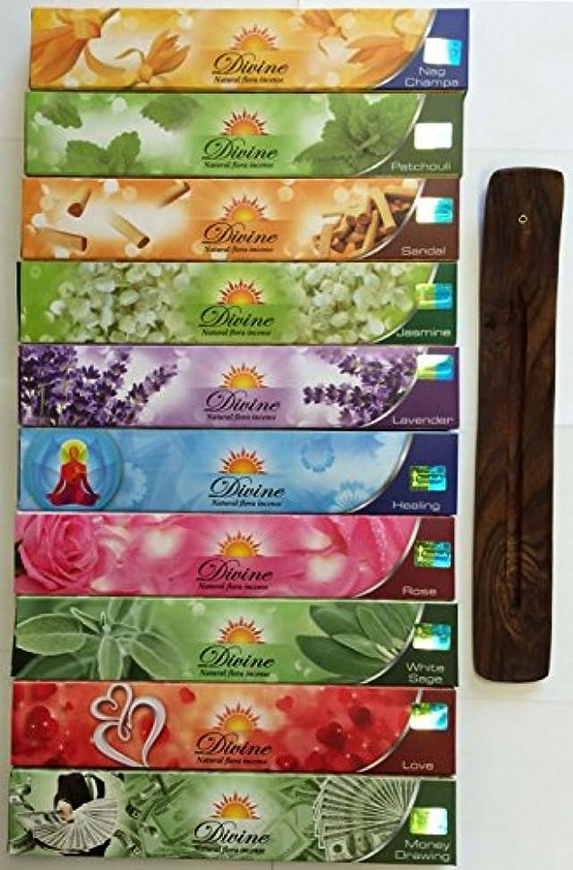 窒息させる説明壊れたGift Set of 10 Nag Champa Sandalwood Patchouli Rose Lavender Jasmine Healing Love White Sage Money Drawing Incense Kit(incense Holder Included)