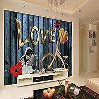 Xbwy カスタム3D壁紙美しい愛のレトロな木製の背景壁カスタム壁画リビングルームの寝室の装飾の壁紙-150X120Cm