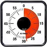 タイマー,Living Hall 60分 勉強 スクールタイマー キッチンタイマー 子供 学習用 アラーム 幼児教育 知育 時間管理 60(ブラック, 19cmX19cmX4cm)
