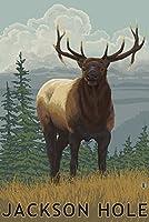 ジャクソン穴、ワイオミング州–Elk 24 x 36 Signed Art Print LANT-32647-710
