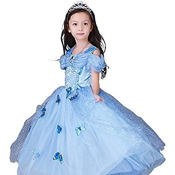 f9e5854664d5b シンデレラドレス コスプレ5点セット 子供ドレス 蝶々飾り ティアラ ネックレス ステッキ ブルー (110cm