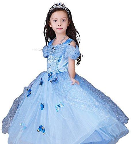 シンデレラドレス コスプレ5点セット 子供ドレス 蝶々飾り ティアラ ネックレス ステッキ ブルー ...