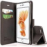 iphone SE ケース 手帳型 高級PU レザー iPhone5 ケース カバー 耐衝撃 カード収納 マグネット スタンド 機能付き 耐摩擦 人気 おしゃれ アイフォン5S 手帳型ケース (iPhone SE/5/5S, クロ&ブラウン)-CP