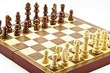 チェス、12インチ折り畳み式の木彫りのチェス盤、固体木製でチェスの駒