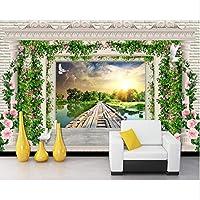 Xbwy 花つるヨーロッパのローマの木製ボード橋風景壁紙、リビングルームのベッドルームテレビの背景キッチン壁画-200X140Cm
