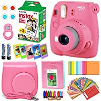 FujiFilm Instax Mini 9 Instant Camera FLAMINGO PINK + EMOJI Film stickers + Fuji INSTAX Film (20 Sheets) + Custom Fitted Case + Instax Album + Colorful Stickers + Fun Frames + 4 Colored Filters + MORE