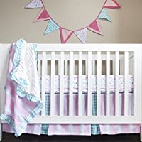 Pam Grace Creations Simply Four Piece Crib Bedding Set, Pink [並行輸入品]