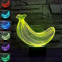 3dバナナFruitsナイトライトテーブルデスクOptical Illusionランプ7色変更ライトLEDテーブルランプXmasホームLove Brithday子供キッズ装飾おもちゃギフト