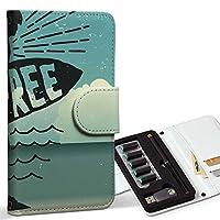 スマコレ ploom TECH プルームテック 専用 レザーケース 手帳型 タバコ ケース カバー 合皮 ケース カバー 収納 プルームケース デザイン 革 サーフ 海 英字 012496