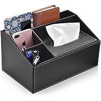 卓上収納ケース ティッシュケース デスクオーガナイザー 小物入れ ペン立て リモコンラック 多機能収納ボックス PUレザー 高品質 高級感 I.Lux (ブラック)