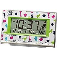 (リズム時計) トイ・ストーリー キャラクター のシルエットをにぎやかに カラープリントした 電波 デジタル 時計 8RZ133MC05