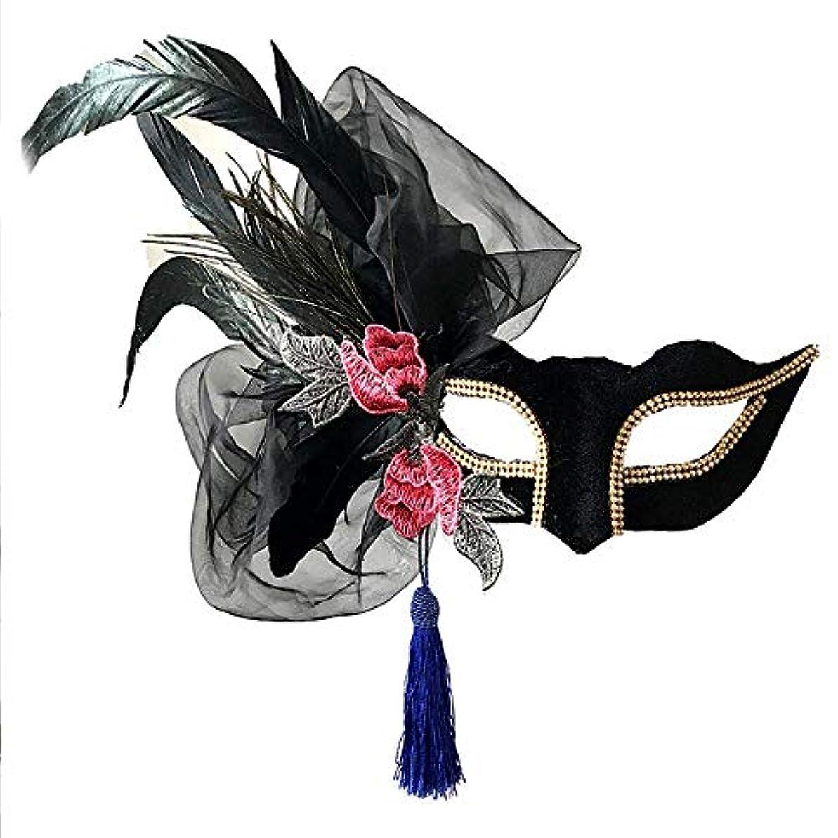 騒計算する下に向けますNanle Halloween Ornate Blackコロンビーナフェザーマスク