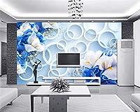 Ansyny 壁紙ブルードリームファッション3D花テレビリビングルームルーム背景装飾されています-280X180CM