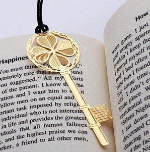 幸せの四つ葉シリーズ 金の鍵 ステンレス金属 しおり ブックマーク